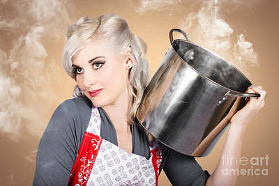 Steaming Photograph - Retro Women And Homemakers. Pin Up Cooking by Jorgo Photography - Wall Art Gallery