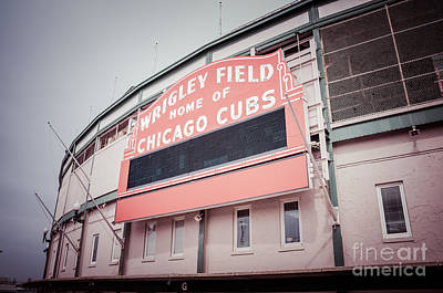 Chicago Cubs Stadium Print featuring the photograph Retro Wrigley Field Sign by Paul Velgos