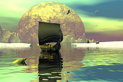 Dolphins Digital Art - Return Of The Dragon Ship by Claude McCoy