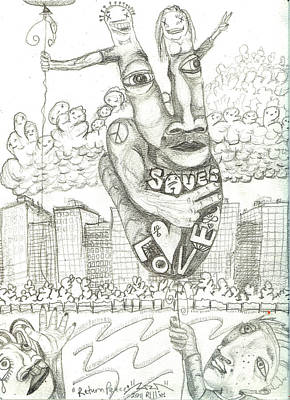 Abstract Hearts Drawing - Return Peace by Robert Wolverton Jr