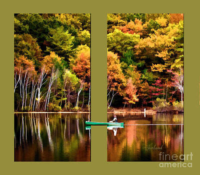 Autumn Leaf On Water Mixed Media - Return To Lake Transition Two Thirds by Garland Johnson