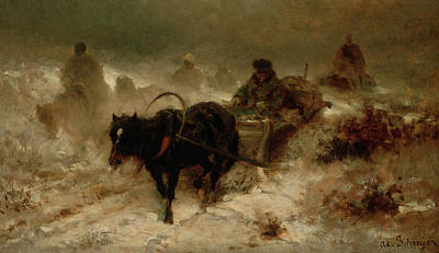 Snowy Night Painting - Returning Home by Adolf Schreyer