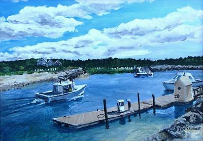 Sesuit Cafe Painting - Returning To Sesuit Harbor by Jack Skinner