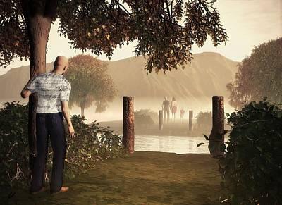 Surrealistic Digital Art - Returning To The Bridge That Burned by John Alexander
