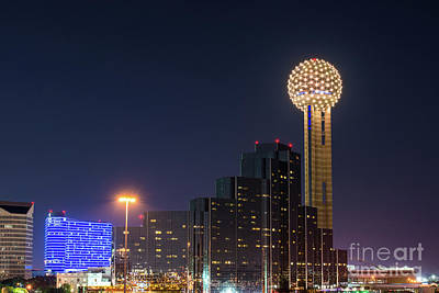 Dallas Skyline Photograph - Reunion Tower After Dark by Tod and Cynthia Grubbs