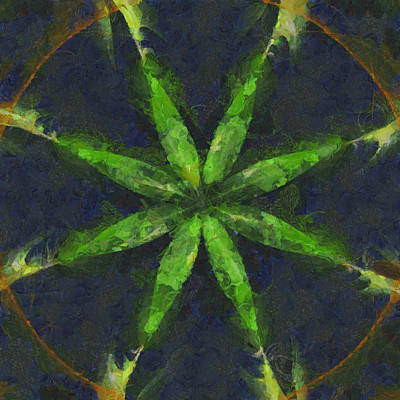 Phthalo Green Mixed Media - Rever Make-up Flowers  Id 16163-135350-83840 by S Lurk