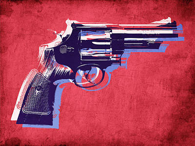 Revolver On Red Print by Michael Tompsett
