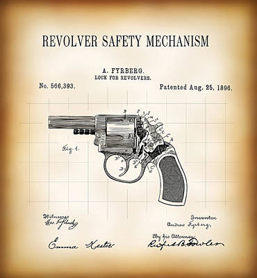 Cartridge Digital Art - Revolver Safety Mechanism Patent  1896 by Daniel Hagerman