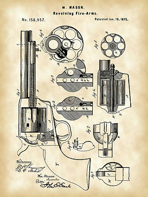 Targets Digital Art - Revolving Fire Arm Patent 1875 - Vintage by Stephen Younts