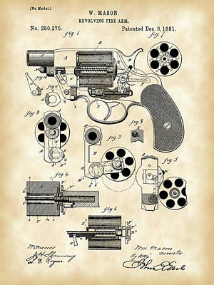 Targets Digital Art - Revolving Fire Arm Patent 1881 - Vintage by Stephen Younts