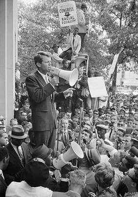 Kennedy Photograph - Rfk Speaking At Core Rally by War Is Hell Store