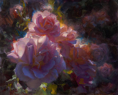 Rhapsody Roses - Flowers In The Garden Painting Print by Karen Whitworth