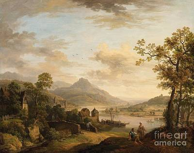 The Rambler Painting - Rhine Landscape With A Rambler by Celestial Images