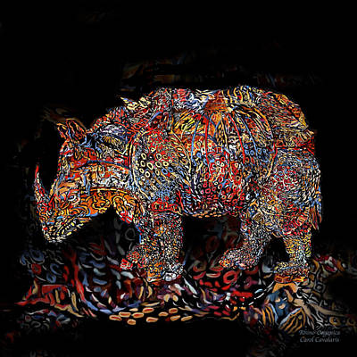 Mood Art Mixed Media - Rhino 1 Organica by Carol Cavalaris