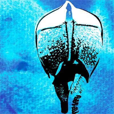 Rhino Painting - Rhino Animal Decorative Blue Poster 6 - By Diana Van by Diana Van