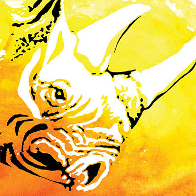 Rhino Painting - Rhino Animal Decorative Wall Poster  35 by Diana Van