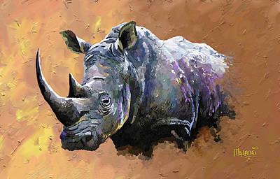 One Horned Rhino Painting - Rhino by Anthony Mwangi