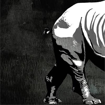 Rhino Animal Decorative Black And White Poster 2 - By Diana Van Print by Diana Van
