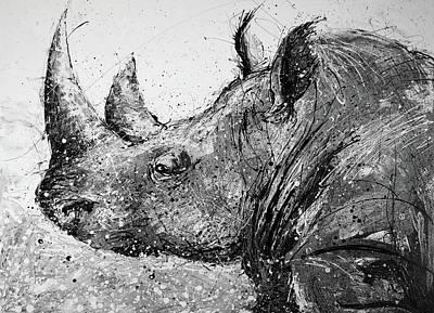 Splashy Art Painting - Rhino In Black And White by Michael Glass