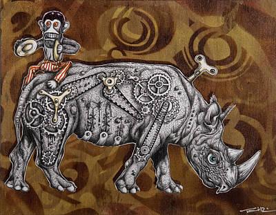 Monkeys Drawing - Rhino Mechanics by Tai Taeoalii