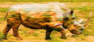 Rhinocerus Digital Art - Rhinocerace by Caito Junqueira
