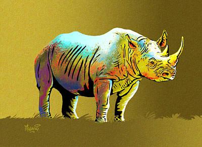 One Horned Rhino Painting - Rhinoceros by Anthony Mwangi
