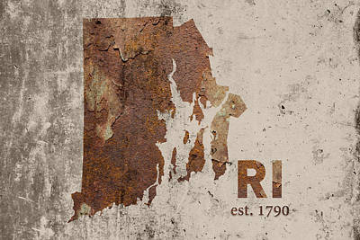 Rhode Island State Map Industrial Rusted Metal On Cement Wall With Founding Date Series 013 Print by Design Turnpike