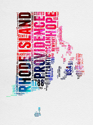 4th Of July Mixed Media - Rhode Island Watercolor Word Cloud by Naxart Studio