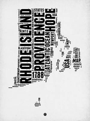 Rhode Island Word Cloud 1 Print by Naxart Studio
