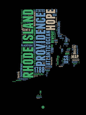 4th Of July Mixed Media - Rhode Island Word Cloud 2 by Naxart Studio