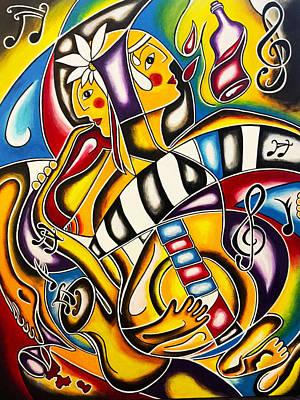 Glass Of Wine Painting - Rhythms by Maria Saravo-Carlson