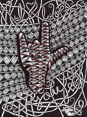 American Sign Language Drawing - Ribbon Write I Love You Hand by Martha Cuzzolino