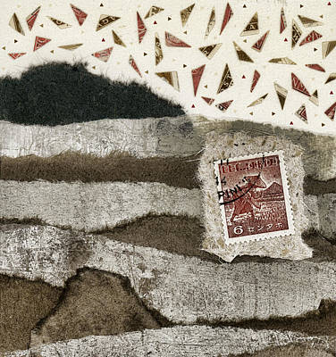 Torn Mixed Media - Rice Paddies Collage by Carol Leigh