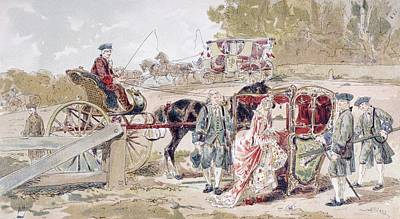 Rich Lady Entering A Sedan Chair After Print by Vintage Design Pics