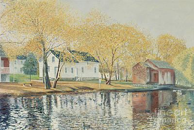 Ducks Painting - Richmondtown Pond by Anthony Butera