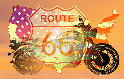 Ride Route 66 Print by Carol and Mike Werner