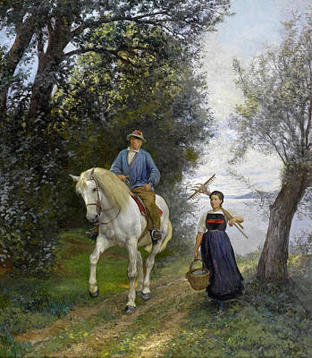 Rudolf Koller Painting - Rider And Farmer's Wife At The Lake by Rudolf Koller