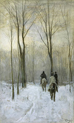 Anton Mauve Drawing - Riders In The Snow In The Haagse Bos by Anton Mauve