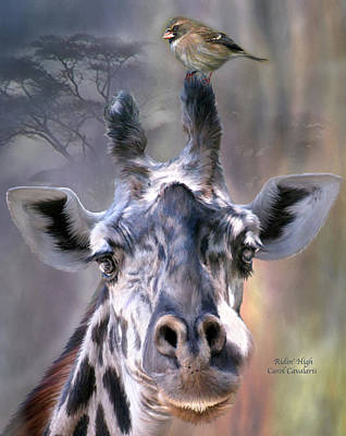 Giraffe Mixed Media - Ridin' High by Carol Cavalaris