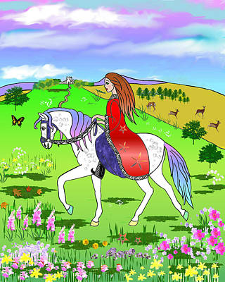 Riding On A Unicorn Print by Frances Gillotti