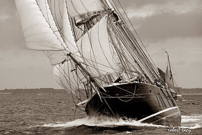 Wooden Ships Photograph - Riding The Wind -sepia by Robert Lacy