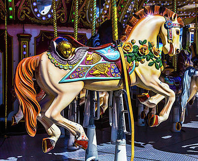Antique Carousel Photograph - Riding Through Childhood by Garry Gay