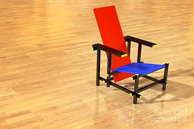 Rietveld Chair Parquet Floor Print by Jan Brons