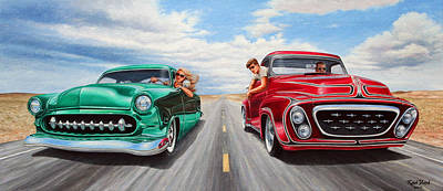 Hot Rod Painting - Riff Raff Race 4 by Ruben Duran