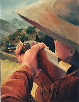 Cowboy Painting - Rifleman On The Hill Western Cowboy Art by Kim Corpany