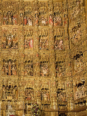 Retablo Photograph - Right Half - The Golden Retablo Mayor - Cathedral Of Seville - Seville Spain by Jon Berghoff
