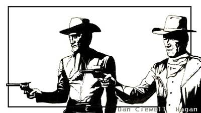 John Wayne Drawing - Right Handed Justice by Dan Clewell