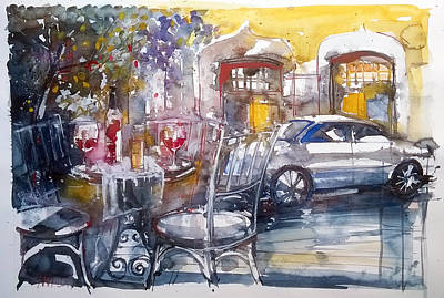 Wine Painting - Right Place Right Time. by Lorand Sipos