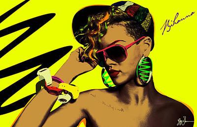 Rihanna Digital Art - Rihanna by VJay Seminiano