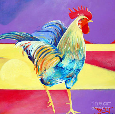 Artist Christine Belt Painting - Riley The Rooster by Christine Belt